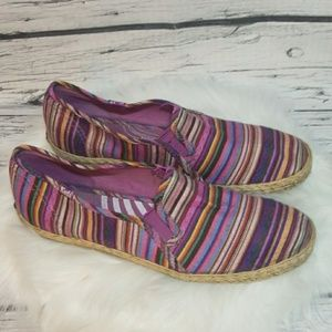 Keds slip on canvas multi striped purple shoes 8